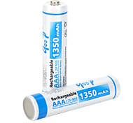 GOOP Replacement 1.2V Rechargeable NiMH AAA Battery - White Blue (2 PCS)