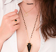 Woman three layers of Long Necklace