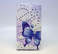 Blue Butterfly Patterns PU Leather Full Body Case with Stand and Card Slot forSamsung Galaxy A7
