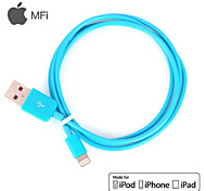 MFi Certified Lightning 8 Pin USB Sync Data / Charging Cable for iPhone 5/5S/6/6 Plus iPad air/ari2 (100cm,Blue)