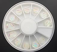 24pcs paillettes blanc acrylique rondeur mis Nail Art Décoration