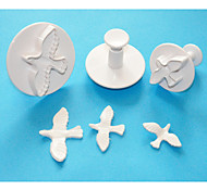 FOUR-C Plastic Dove Gumpaste Fondant Cake Decorating Plunger Cutters,Useful Cake Decorating Equipment Set