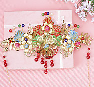 Women Alloy Chinese Color Butterfly Wedding Headpiece