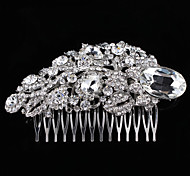 Vintage Wedding Party Bridal Bridesmaid Round Crystal Leaf Bridal Free Hair Comb For Women