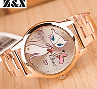 Women's Fashion Diamond White Cat Mirror Quartz Analog Steel Belt Watch Cool Watches Unique Watches