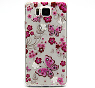 Butterflies Flowers Pattern with Bling Diamond TPU Soft Back Cover Case for Samsung Galaxy Alpha G850