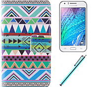 National Wind Design PU Leather Full Body Case with Film and Capacitance Pen for  Samsung Galaxy J1