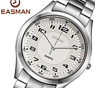 EASMAN Men's Classical White Sapphire Dial Round Shape Stainless Steel Quartz Wristwatch