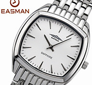 EASMAN Men's Classical White Sapphire Dial Round Shape Stainless Steel Quartz Watch Swiss Wristwatch