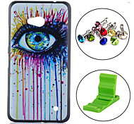 Colorful Ink Eye Painting Pattern PC Hard Back Cover Case with Anti-dust Plug and Stand for Nokia Lumia 640