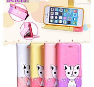 LEIERS® Domi Cat II Magnetic Flip Leather Cover Wallet Card Slot Case Stand for iPhone 5/5S (Assorted Colors)