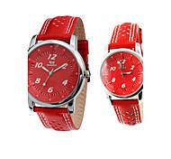relojes de la pareja de marcación rojo de la banda de cuero genuino del análogo de cuarzo (1 par)