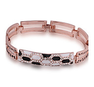 Fashion Generous Women's Fleck Diamante Rose Gold Plated Chain & Link Bracelet(Rose Gold)(1Pc)