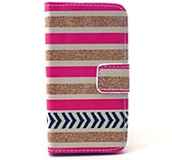 Golden Striped Pattern PU Leather Full Body Case with Card Slot for iPhone 4/4S