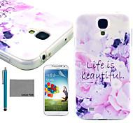 coco Fun® Leben ist schön weicher tpu Fallabdeckung mit Displayschutzfolie und Stylus für Samsung-Galaxie i9500 s4
