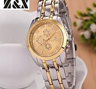 Herrenmode Augen Kalender zwischen Gold Quarz Analog Stahlband Armbanduhr (farbig sortiert)