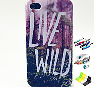 Jungle Pattern with Stylus ,Anti-Dust Plug and Stand TPU Soft Case for iPhone 4/4S