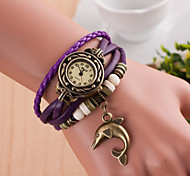 Hand Woven Women's Round Dial Dolphins Leather  Band Quartz Analog  Braceiet Watch(Assorted Color)