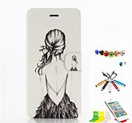 modèle de beauté cuir PU cas de tout le corps avec fente pour carte et le stylet bouchon anti-poussière et Stand pour iPhone 6