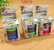 12PCS Popular Rainbow Washi Sticky Paper Masking Adhesive Decorative Tape Scrapbooking DIY