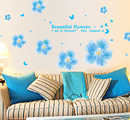 Fashion Blue Flower PVC Wall Stickers Wall Art Decals