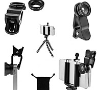 4 in 1 kit treppiede mini viaggio + supporto telefonico + lente fish eye + grandangolo& obiettivo macro per iphone 6 / 6plus / 5/4 e