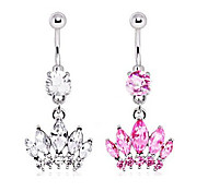 Crystal Crown Dangle Navel Belly Button Ring Dancing Body Jewelry Piercing
