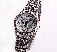estilo de moda flor da cópia do leopardo de quartzo analógico relógio de pulso das mulheres