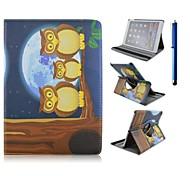 9,7 inch 360 graden rotatie uil serie patroon met stand case en pen voor ipad lucht 2 / ipad 6