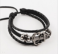 Vilam® Vintage Hematite Anchor Black Handmade Woven Leather Bracelet Jewelry