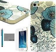 coco fun® fiore blu di viti modello tpu caso della copertura posteriore con la protezione dello schermo e lo stilo per iPhone 5 / 5s
