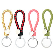 Vilam® Braided Leather Zinc Alloy Silver Tag Colorful D Shaped Keychain Won't Rust