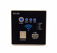 pareti ECAR incorporati ap wifi router wireless extender ripetitore USB 3G wireless di ricarica pannello presa (802.11 NGB)