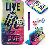 Live Life You Love Pattern PU Leather Case with Anti-dust Plug and Stylus for Samsung Galaxy Grand Prime G530H