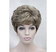 nuevo color marrón claro con peluca sintética de relieve rubio dorado cortos de las mujeres rizadas