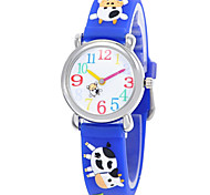 Fashion boy and girl children's cartoon 3D environmental protection silicone quartz watch (cow) ET012
