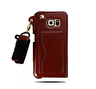 Top Quality Solid Color Luxury Leather Back Case with Sling for Samsung Galaxy S6