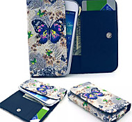 Large Butterfly Pattern PU Leather Case Card Money for Samsung Mobile Size<13.8*7.6*2.1
