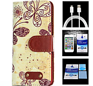Butterfly Pattern Full Body Case+1 HD Screen Protector+1 USB Data Transmit and Charging Cable for Samsung Galaxy S4