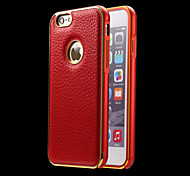 Metal Bumper Frame and Genuine Leather Back Cover for iPhone 6