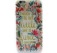 Flowers English Words Pattern Ultrathin TPU Soft Back Cover Case for iPhone 6