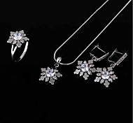 Women's  Fashion Cheap Platinum plateed Austrian Crystal Flower Wedding Jewellery