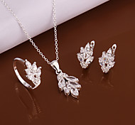 Silver Jewelry,Silver Fashion Jewelry Crystal Flower Necklace&Earrings&Ring Jewelry Sets For Women SS618