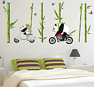 Cartoon Panda by Bike PVC Wall Stickers Wall Art Decals