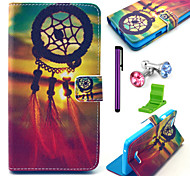 Dream Catcher modello pu custodia in pelle con la spina anti-polvere e lo stilo e stand per Wiko arcobaleno