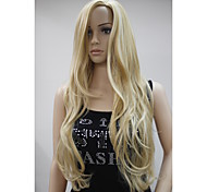 New Fashion No Bangs Side Skin Part Top Women's Golden Blonde Mix Long Curly Wavy Wig