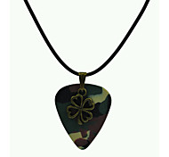 Camouflage Guitar Pick Necklace 4-Leaf Clover PU Leather Cord