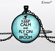 Euner® Keep Calm and Fly on the Broom Jewelry, Keep Calm and Carry on Necklace