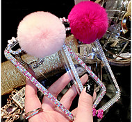 iPhone 6 compatible Rex Rabbit Fur Ball Novelty/Glossy/Special Design/Diamond/Rhinestone Decorated Case Full Body Cases