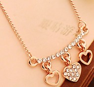 High-quality Love Heart Diamond  Color Retention Gold Plating Necklace